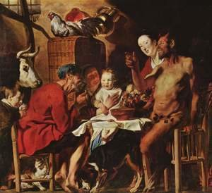 Jacob Jordaens - Satyr at the Peasant's House