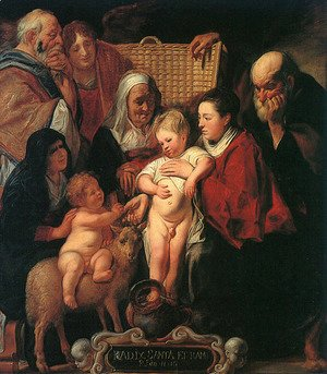Jacob Jordaens - The Holy Family with St. Anne, The Young Baptist, and his Parents