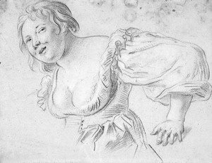 Jacob Jordaens - A woman with deep decolletage