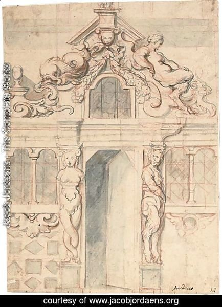 An elaborate facade with an open door flanked by a bacchante and a satyr