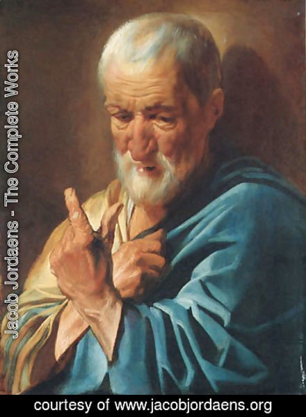 Jacob Jordaens - An old man with a raised finger