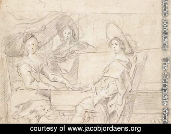 Jacob Jordaens - Three women playing music in an interior, a dog in the foreground