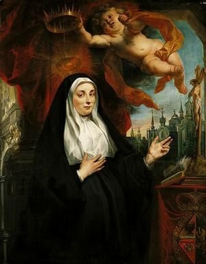 Jacob Jordaens - Portrait Of The Infanta Isabella Clara Eugenia, As A Nun, Half-Length In Prayer Before A Crucifix And Crowned By A Cherub, With An Abbey Beyond