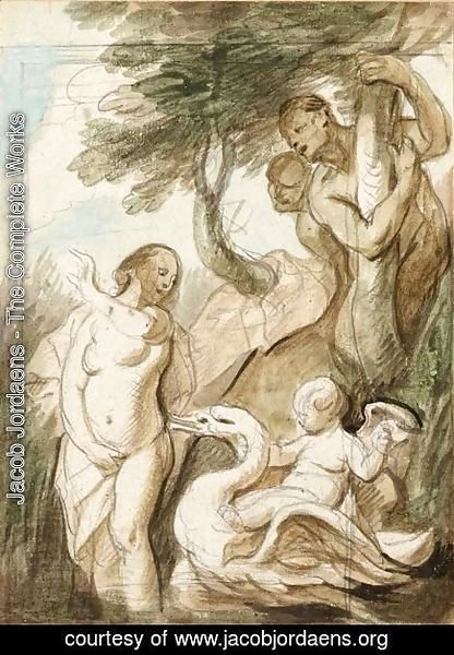 A Bathing Nymph Surprised By Satyrs, A Putto Riding A Swan Beside Her
