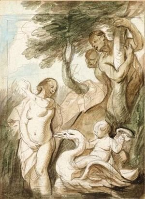 Jacob Jordaens - A Bathing Nymph Surprised By Satyrs, A Putto Riding A Swan Beside Her