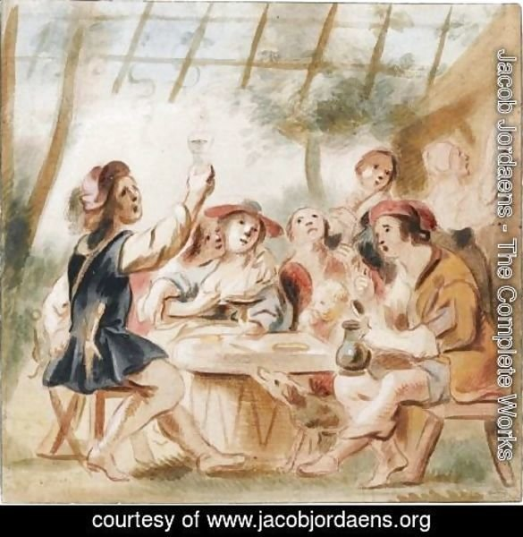 Jacob Jordaens - Merry Company Under An Arbour