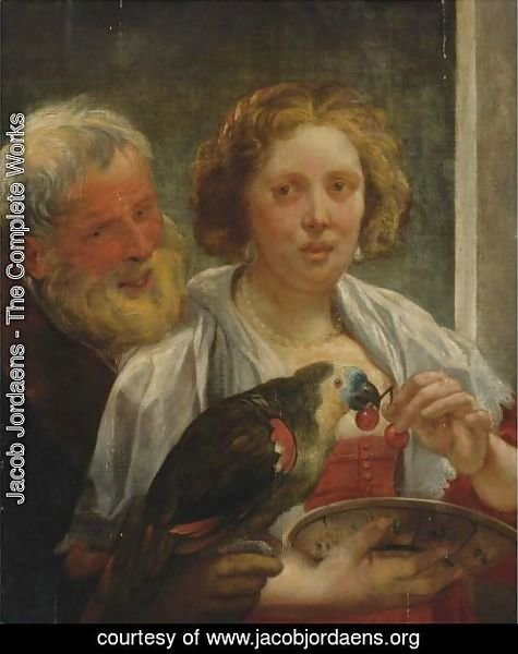 A Bearded Man And A Woman With A Parrot Unrequited Love