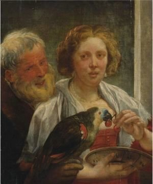 Jacob Jordaens - A Bearded Man And A Woman With A Parrot Unrequited Love