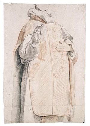 Jacob Jordaens - Study Of A Figure In Priest's Robes