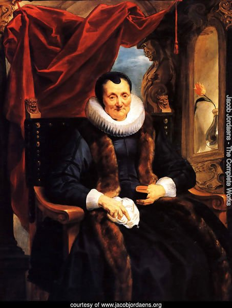 Portrait Of Magdalena De Cuyper, Seated Three-quarter Length In Black, With White Lace Cuffs And Ruff, And A Fur-trimmed Coat, Before An Opening Partly Concealed By A Draped Red Cloth