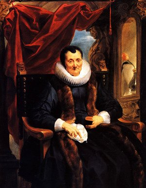 Jacob Jordaens - Portrait Of Magdalena De Cuyper, Seated Three-quarter Length In Black, With White Lace Cuffs And Ruff, And A Fur-trimmed Coat, Before An Opening Partly Concealed By A Draped Red Cloth