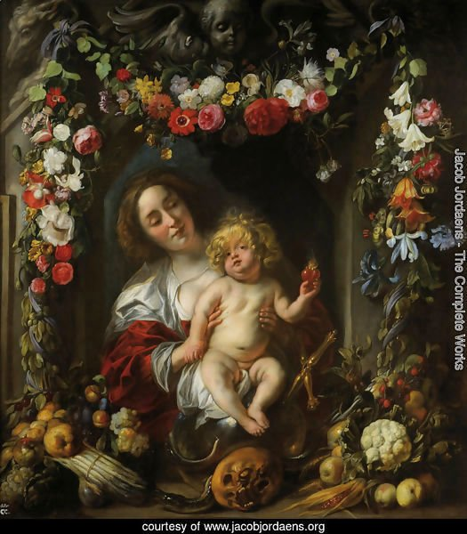 Madonna with child in a flower garland