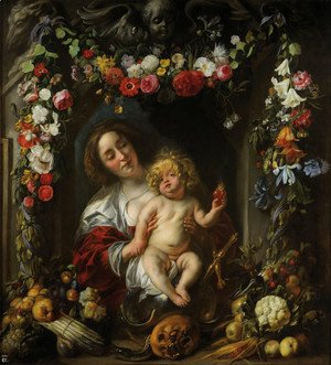 Jacob Jordaens - Madonna with child in a flower garland