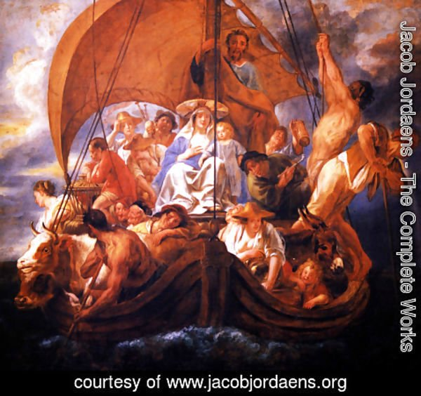 Jacob Jordaens - The Holy Family with characters and animals in a boat