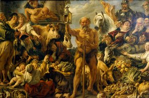 Jacob Jordaens - Diogenes Searching for an Honest Man