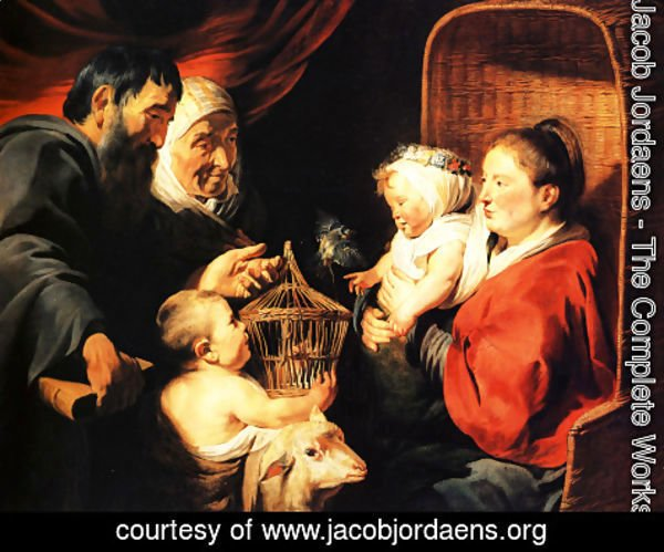 Jacob Jordaens - The Virgin and Child in the company of little St. John and his parents