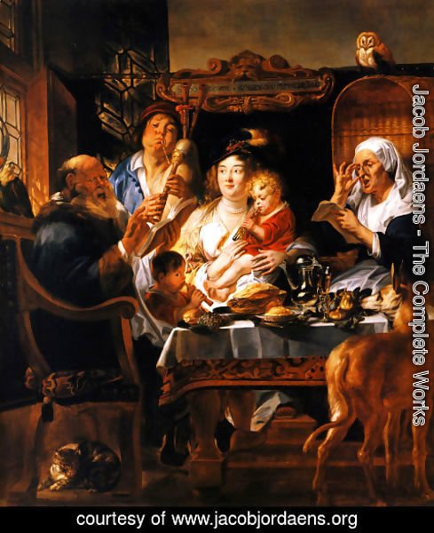 Jacob Jordaens - As the Old Sang, So the young Pipe