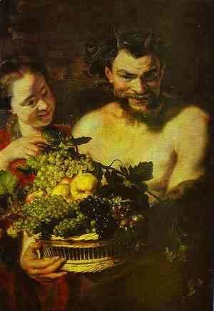 Jacob Jordaens - Satyr and Girl with a Basket of Fruit