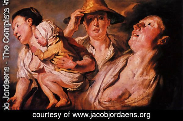 Jacob Jordaens - Study of three women and child