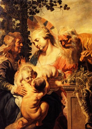 Jacob Jordaens - Holy Family with Elizabeth and Child John the Baptist