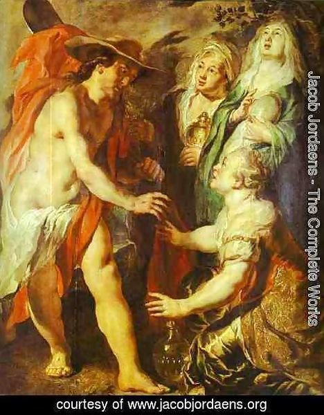 Jacob Jordaens - Christ Comes as a Gardener to Three Marys