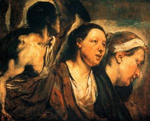 Jacob Jordaens - Study of two female heads and torso of a warrior