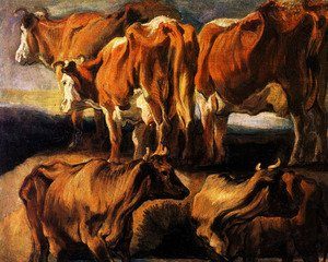 Jacob Jordaens - Five studies of cows