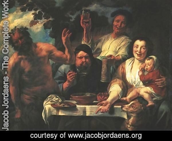 Jacob Jordaens - Satyr with Peasants