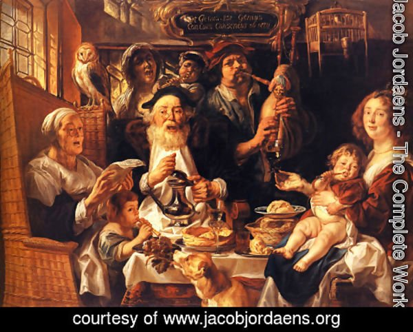 Jacob Jordaens - As the Old Sing, So the Young Pipe